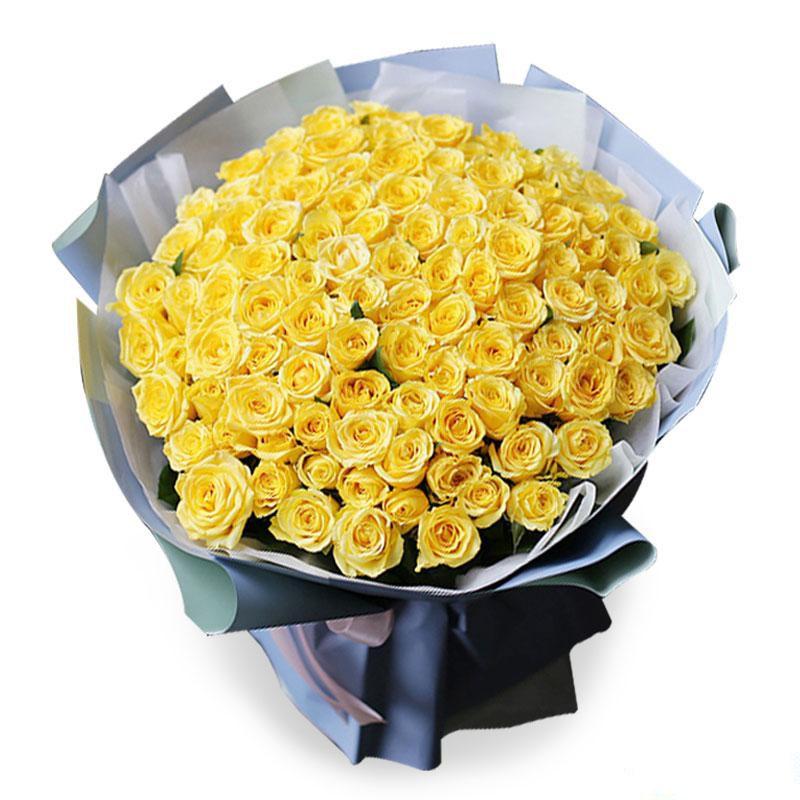 与你相遇_99枝黄玫瑰,满天星搭配
