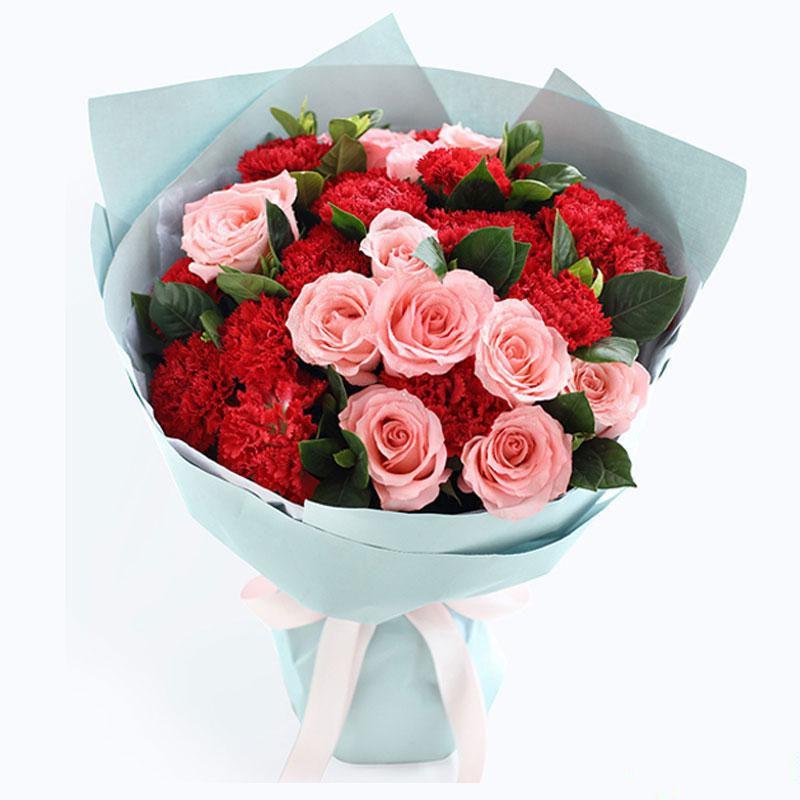 幸福永久_红色康乃馨19枝,戴安娜粉玫瑰11枝,栀子叶搭配