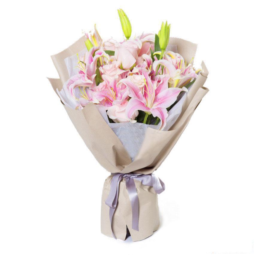 甜甜的你_10朵香水粉百合,11枝粉玫瑰