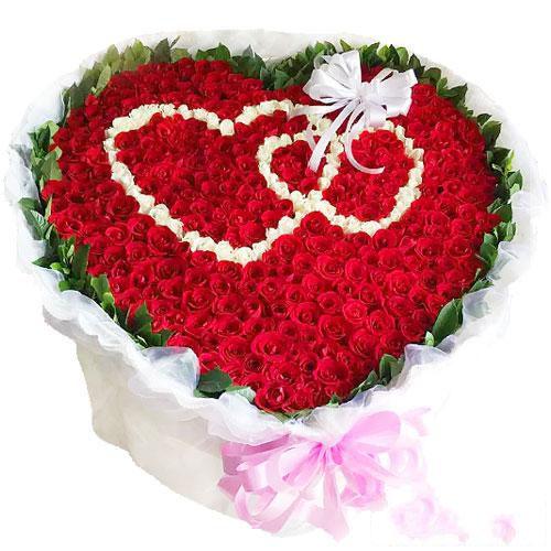 长长久久_999枝玫瑰(红玫瑰,白玫瑰),绿叶围边