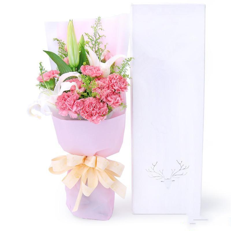 衷心祝福_11枝粉色康乃馨,1枝多头白百合,搭配适量黄莺草