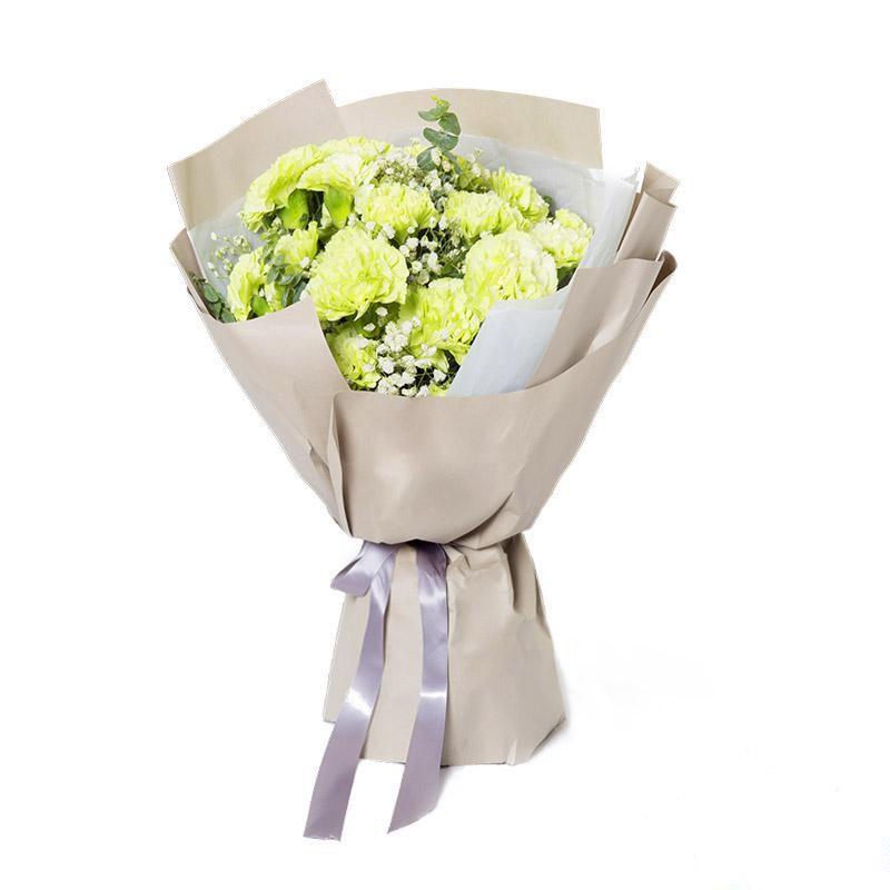 绵绵的思念_19枝绿康乃馨,0.4扎白满天星,0.2扎尤加利叶