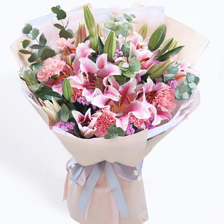 无微不至_粉色康乃馨19枝,4只多头百合,.勿忘我、尤加利叶搭配