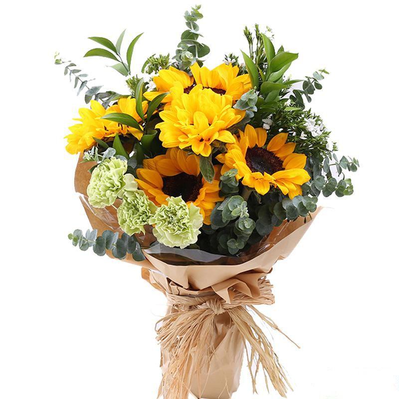 你的港湾_5枝向日葵,搭配3枝绿色康乃馨、适量白色相思梅、尤加利叶装饰