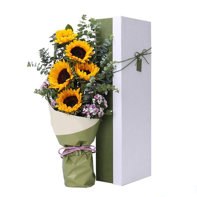 开心祝福_5枝精品向日葵,搭配适量尤加利叶、粉色相思梅装饰