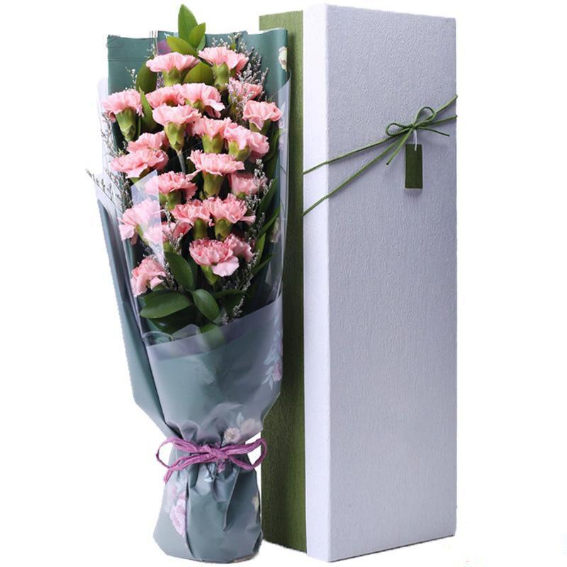 感恩母亲_19枝粉色康乃馨,搭配适量绿叶、情人草