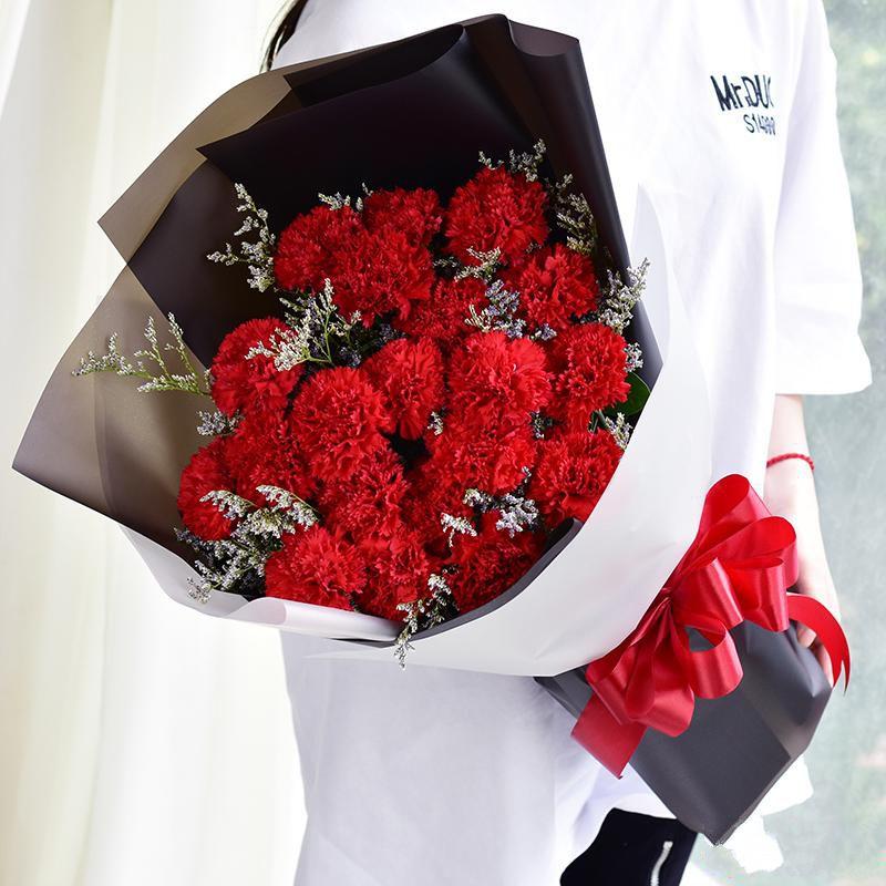 恩情无限_19枝红色康乃馨,搭配适量情人草装饰