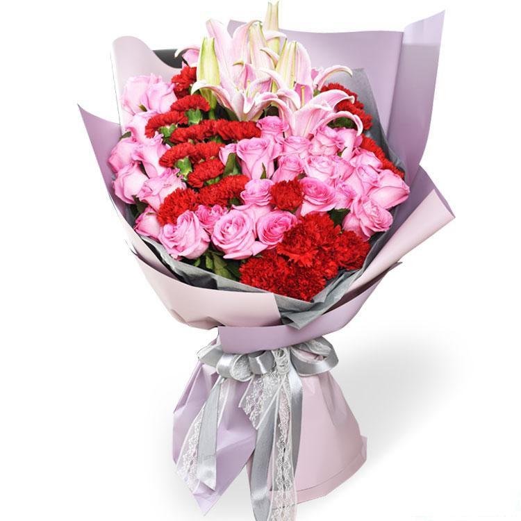 爱在心中_苏醒玫瑰29枝、红色康乃馨29枝、多头粉百合3枝鲜花