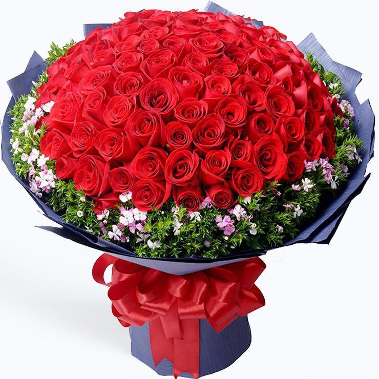 真心爱你_99枝精品红玫瑰,石竹梅搭配。