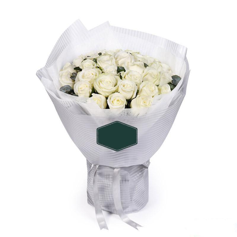 一眼万年_33枝精品白玫瑰,适量尤加利叶搭配
