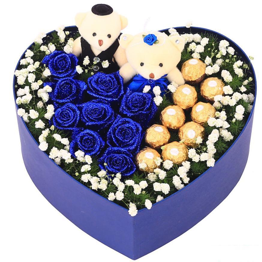 心有灵犀_9枝蓝色妖姬,9颗费列罗巧克力,满天星绿叶2枝可爱小熊搭配