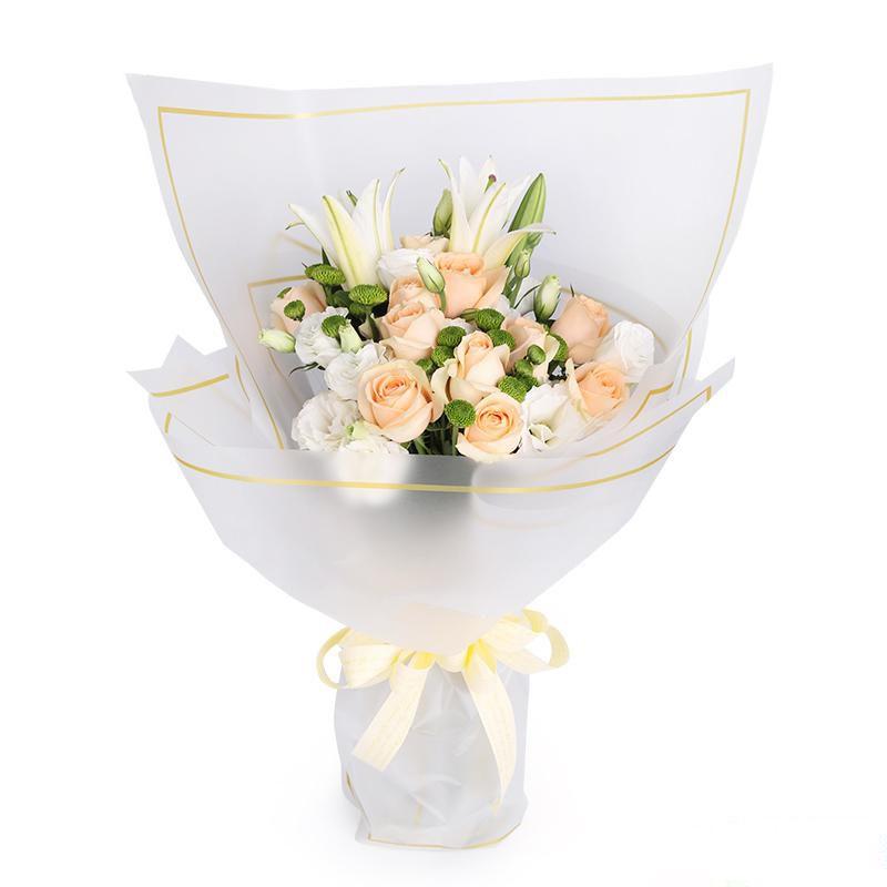 千言万语_11枝香槟玫瑰、1枝多头白百合,搭配4枝白色洋桔梗、6枝绿色小雏菊装饰