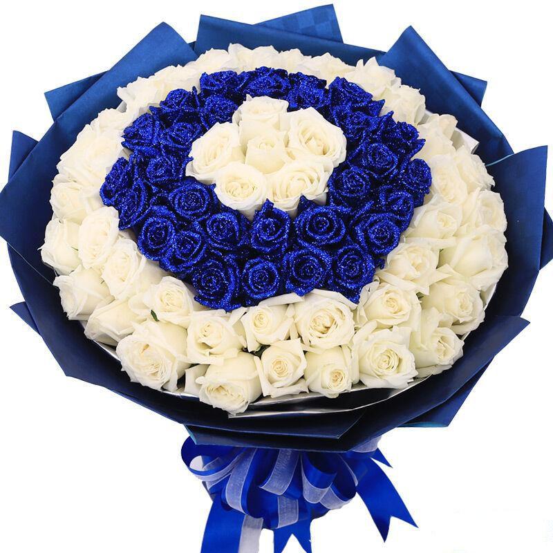 今生今世_99枝精品蓝色玫瑰、白色玫瑰混搭