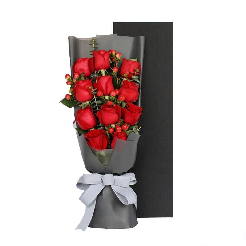 此情不渝_11枝精品红玫瑰,0.3扎相思豆