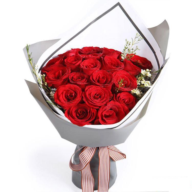 爱的诺言_红玫瑰19枝,白色腊梅2枝(如腊梅无货,则用白色石竹梅或满天星代替)