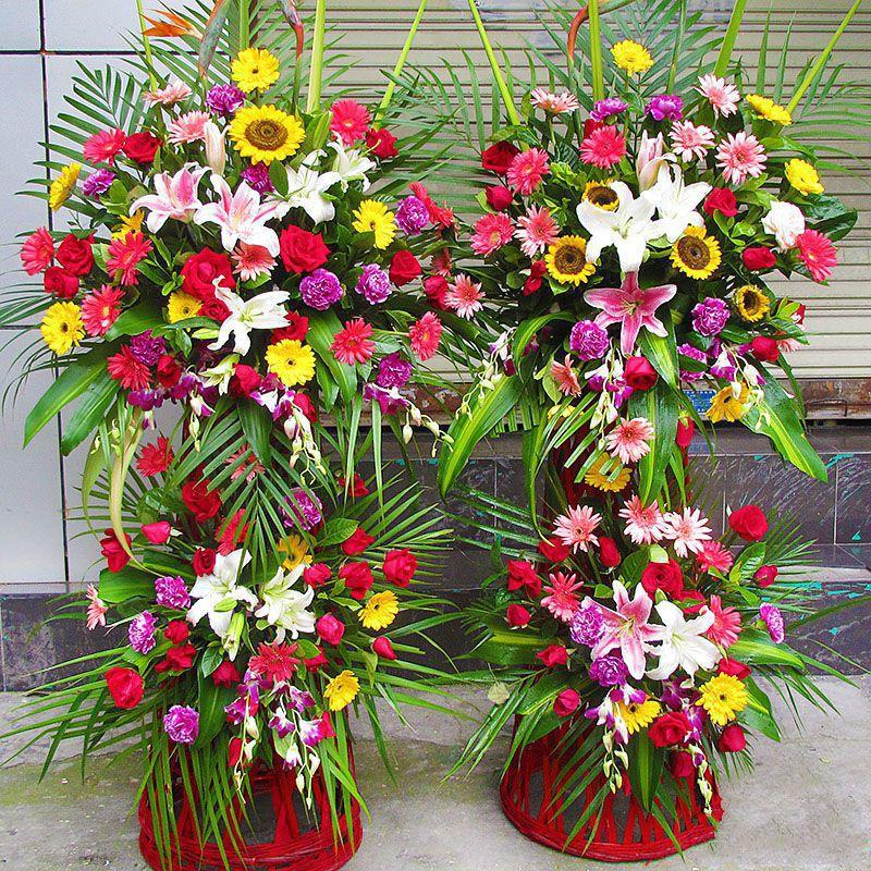 前程万里_精选各色扶郎花,百合花、向日葵、散尾葵、绿叶搭配