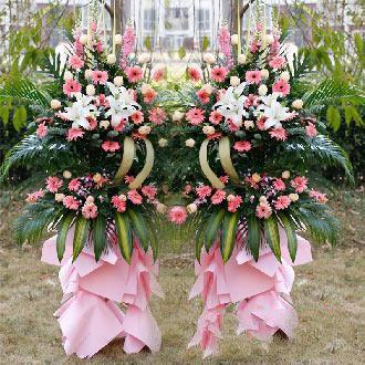 金玉满堂_粉色扶郎,香槟玫瑰,百合,金鱼草,巴西叶,散尾葵搭配