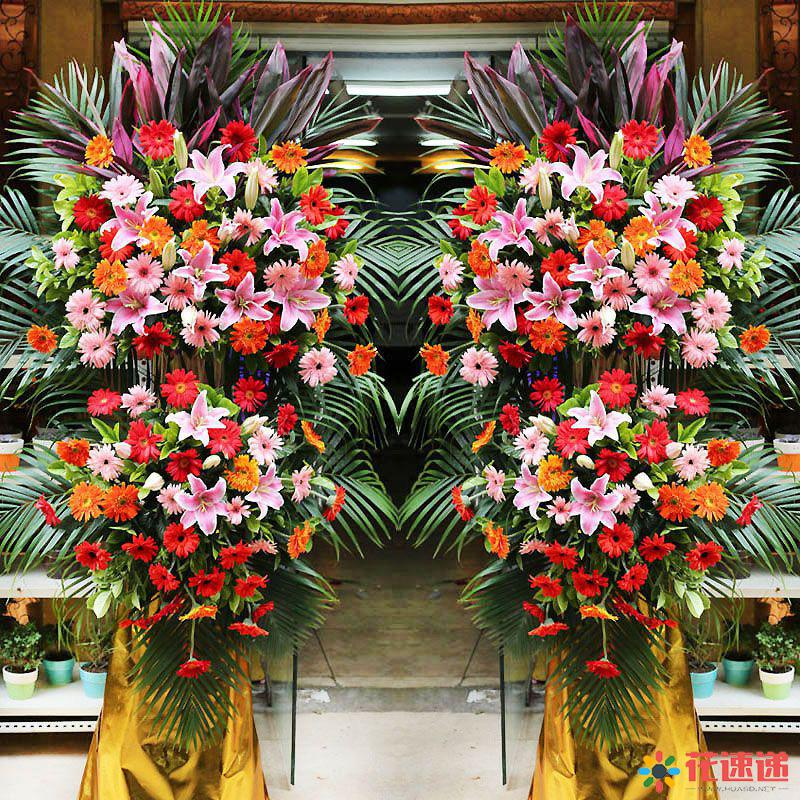 发大财行大运_粉色百合,搭配各色扶郎花,栀子叶、红竹叶、散尾葵、搭配点缀