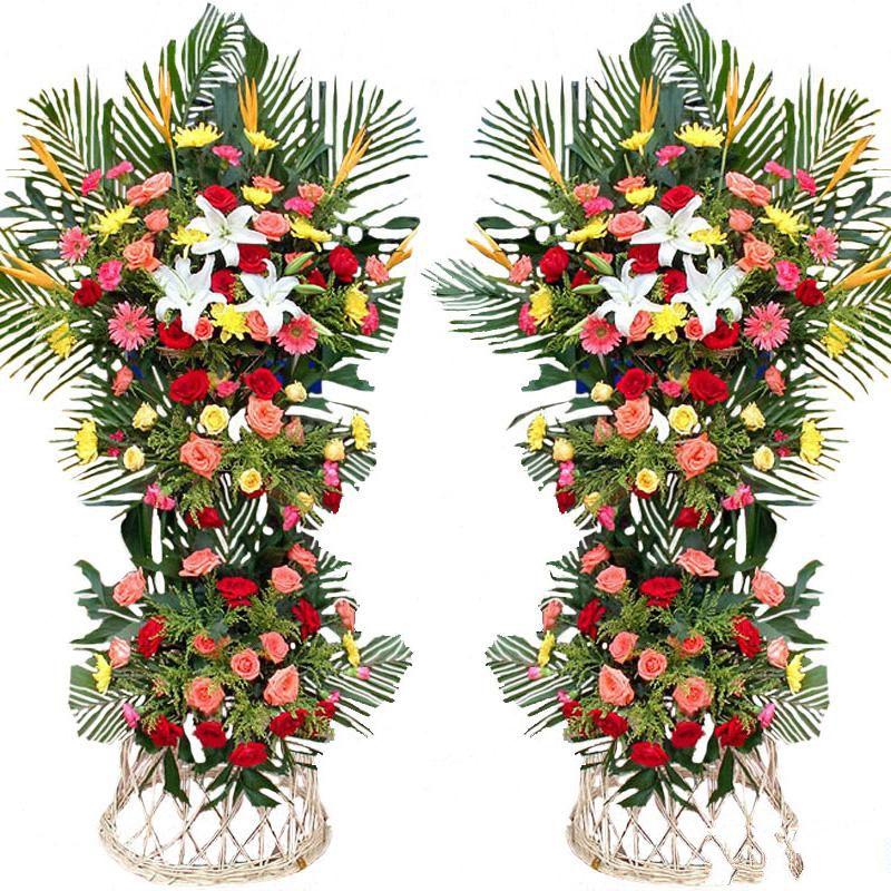 财通四海_精品粉色扶郎、红玫瑰、粉玫瑰、黄玫瑰、1枝多头白百合,搭配适量散尾葵、龟背叶、天堂鸟、黄莺草