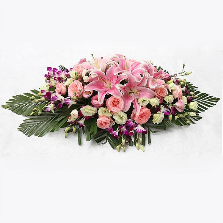 旗开得胜_粉色多头百合5枝,粉色玫瑰21枝,桔梗,洋兰,散尾葵搭配